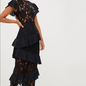 PrettyLittleThing Dresses - NEW Pretty Little Thing Black Lace Ruffle Maxi